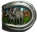 Rodeo Horse and Bull Belt Buckle + display stand. Code GM8